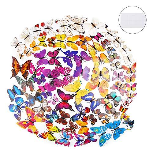 84pcs 3D Schmetterling Aufkleber Schmetterlinge Wandsticker Magnet Schmetterling Wandaufkleber Bunte Kunststoff Schmetterlinge für Wand Dekor, Klebepunkten und Magnet