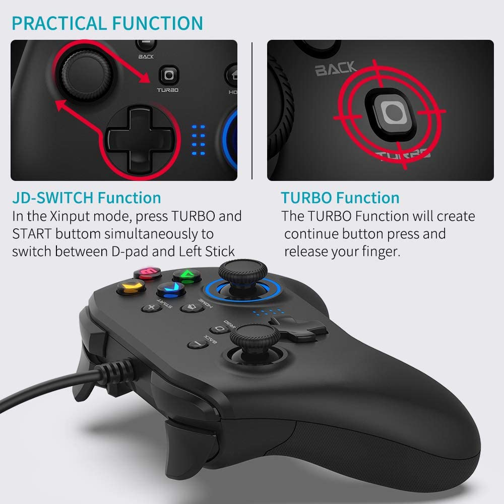 Joystick Gamepad with Dual-Vibration PC Game Controller Compatible ...