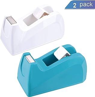 """Ktrio Heavy Duty Tape Dispenser 1"""" Core Desktop Office Tape Dispenser for 1/2 or 3/4 Magic Tape Invisible Tape, Non-Slip One-Hand Tape Holder Tape Desk Dispenser Tape Dispensers, 2 Pack"""