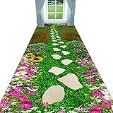 SCAHUN Alfombras De Pasillo Alargadas Flores Elegantes 3D Camino De Piedra Patrón No Se Desvanecen Sala Recibidor del Hotel Lavable Antideslizante Alfombra De Corredor Largo,Green-0.6×3m