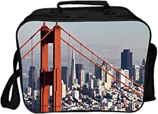 United States Environmental Lunch Ice Bag,San Francisco Bridge and Cityscape Metropolis Financial District for Travel Picnic,One size