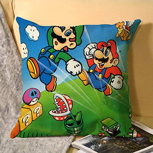 Super Mario Bros - Funda de cojín para sofá, dormitorio, 45,7 x 45,7 cm