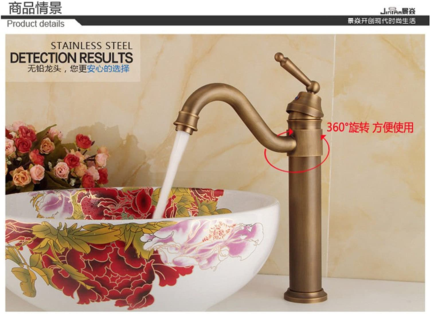 ETERNAL QUALITY Bathroom Sink Basin Tap Brass Mixer Tap Washroom Mixer Faucet The Antique brass faucet antique plus high redation single hole basin mixer console basin fa