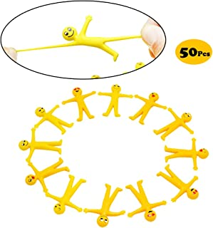 X Hot Popcorn 50 Pcs Emoji Smiley Man Stretchy Toy, Great for Stress Reliever, Themed Parties, School Prizes, Birthday Gifts, Party Favor and Supply