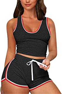 Womens Sexy 2 Piece Sports Outfit Shirt Bodycon Pants Jogger Tracksuit Sportswear Set Clubwear
