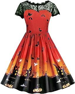 Women Halloween Short Sleeve Retro Lace Vintage Dress A Line Pumpkin Swing Dress Cosplay Suit