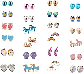 20/24 /30 Pairs Hypoallergenic Stud Earring Set for Women Girls Unicorn Heart Mermaid Scales Rainbow Pearls Owl Rhinestone Cute Mixed Color Stainless Steel Stud Earring Pack