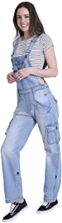 USKEES Womens Denim Dungarees - Aged Blue Relaxed fit Roll-up leg Bib-overalls