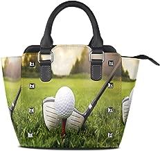 Use4 Women's Green Grass Golf Ball Sport Rivet PU Leather Tote Bag Shoulder Bag Purse