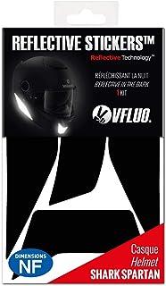 VFLUO Spartan™, Kit 4 Stickers rétro réfléchissants Casque Shark Spartan, compatibles Tous Casques Moto, 3M Technology™, Noir