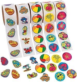 Fun Express 500 (5 Rolls) Tropical Stickers/Hibiscus/FLIP Flop/Beach Ball/SEA Creatures/Luau Party Theme/Favors/Decor