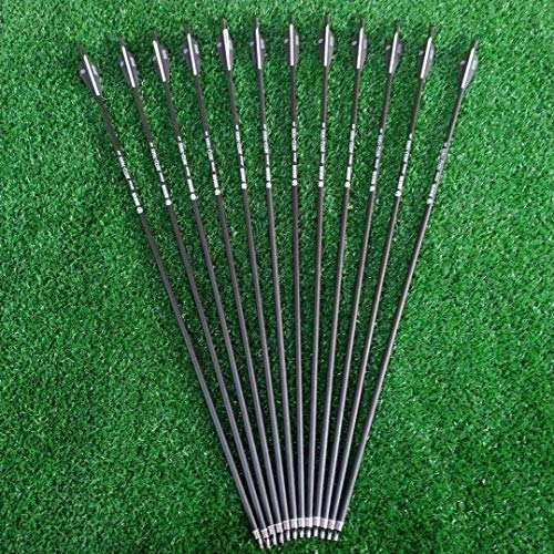 Mosogos 12Pcs 28 Inch Carbon Archery Arrows, Spine 500 with 2.95 Inch Feather Removable Tips, Hunting and Target Practice Arrows for Compound Bow and Recurve Bow