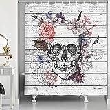 NYMB Totenkopf-Duschvorhang, Skelette mit Blumen auf Vintage-Holzhintergr&, rustikale Heimdekoration, Stoff, Badezimmer-Dekor-Set mit Haken, 174 x 178 cm, grau-weiß