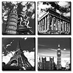 Black and White Building Wall Art for Living Room Contemporary European Famous Architecture Leaning Tower of Pisa Eiffel Parthenon & London Elizabeth City Big Ben Canvas Pictures Paintings Decor StretchedandFramedReadytoHang