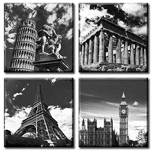 Black and White Art Canvas Print Wall Decor European Architecture Famous Leaning Tower of Pisa Eiffel Parthenon & London Elizabeth City Big Ben Landscape Pictures Paintings For Bedroom Home Office