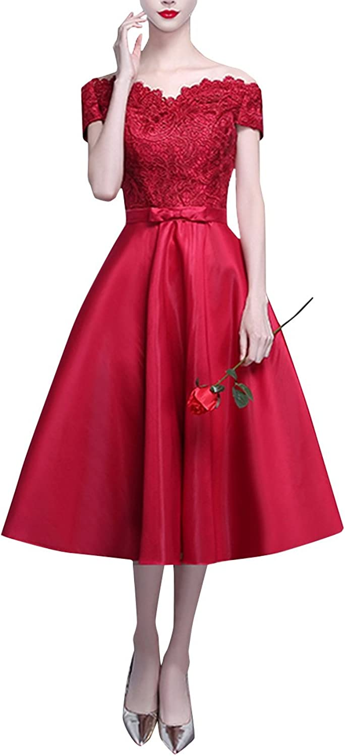 Dasior Women's Appliqued Off Shoulder Satin Midi Evening Dress Laceup with Bow