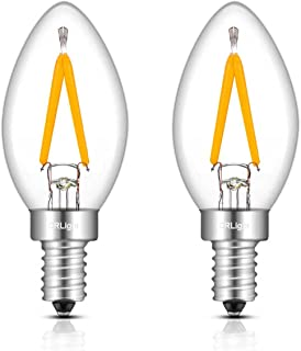 CRLight C7 1W LED Night Light Bulbs 15W Equivalent 150LM Warm White 2700K, E12 Candelabra Base Clear Glass C7 Mini Candle Torpedo Shape, 360 Degrees Beam Angle, Non-dimmable, 2 Pack