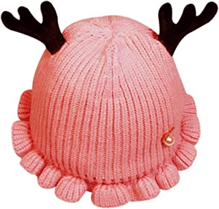 RARITYUS Toddler Beanie Cute Deer Antlers Falbala Cuffed Hat Warm Hat with Soft Lining