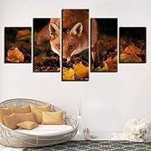 YXWLKG 5 lienzos Pared Moderna Impresiones en Alta definición Lienzo Arte Decoración Habitación 5 Piezas Zorro Animal y Hojas Amarillas Escenografía Pintura Cartel Modular Imágenes