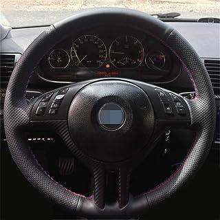 KDKDKLMB Couvre Volant Cuir v/éritable Bricolage personnalis/é Couverture de Volant de Voiture Noir Cousu /à la Main Noir pour BMW E39 E46 325i E53 X5 X3