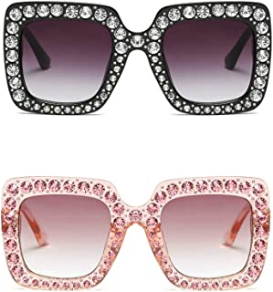Large Jeweled Sunglasses for Women Crystal Bling Studded Oversized Square Frame