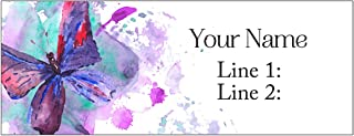 Set 30 Personalized Return Address Labels Watercolor Butterfly (White Matte Labels)