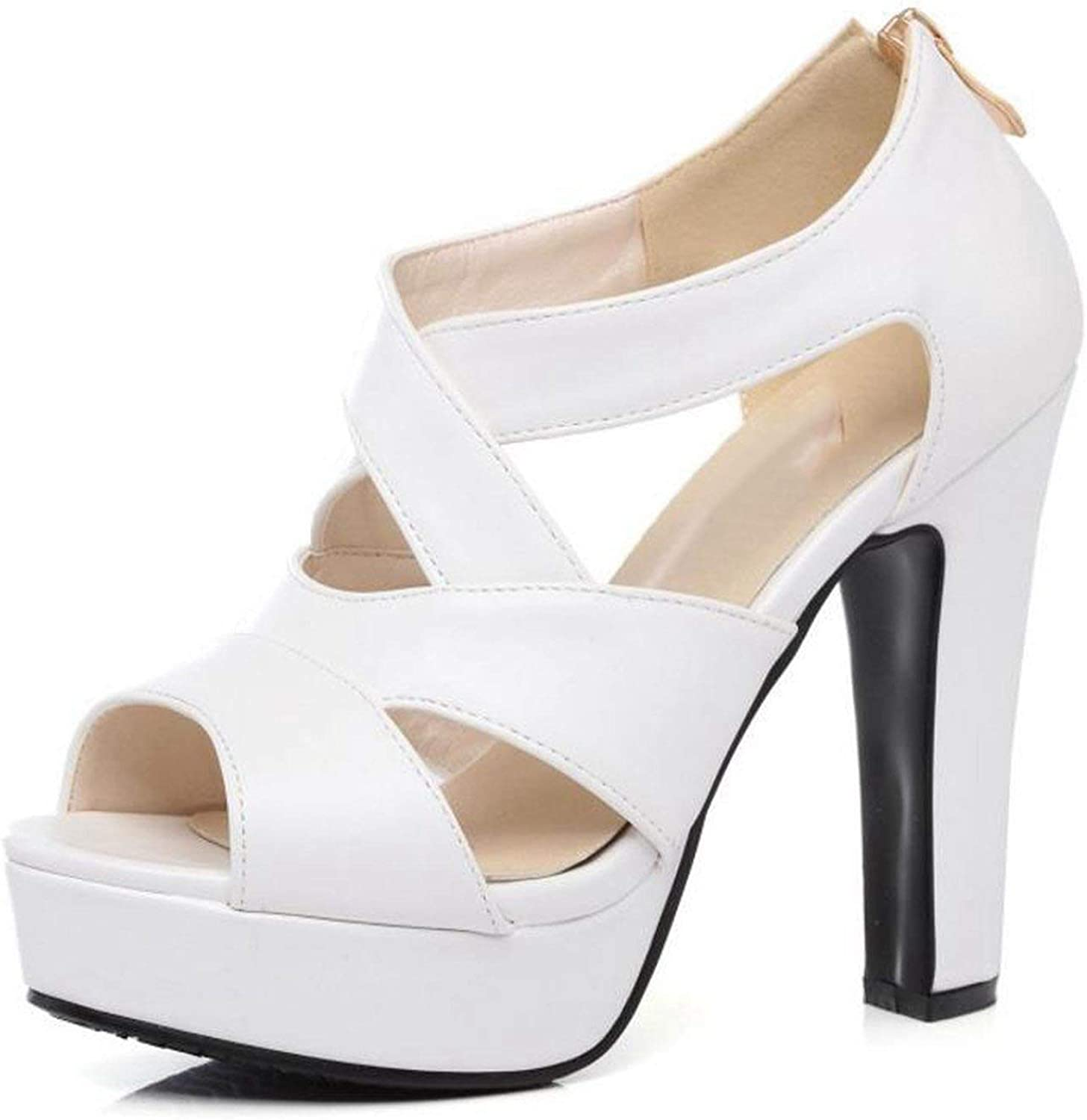 Houfeoans Size 31-43 Sexy Peep Toe White Gladiator Sandals Summer shoes Thick High Heel Zipper shoes