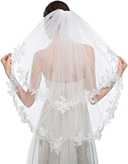 Elegant Wedding Veil 2T Two-tier Elbow Veils Lace Applique Edge with Comb