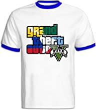 Men's RoyalBlue Organic Cotton Grand Theft Auto V Logo2 Tshirt US Size