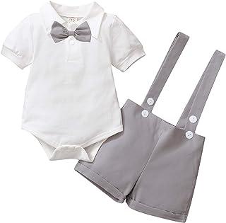 Conjunto de traje de caballero para bebé, de manga corta, con camiseta, pelele y tirantes cortos, para bautizo, boda, 0 – ...