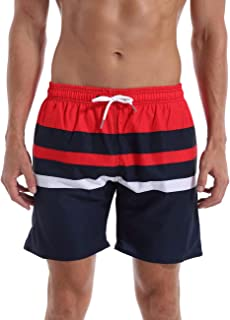 QRANSS Men's Quick Dry Swimming Trunks Bathing Suit Shorts Striped Mesh Liner