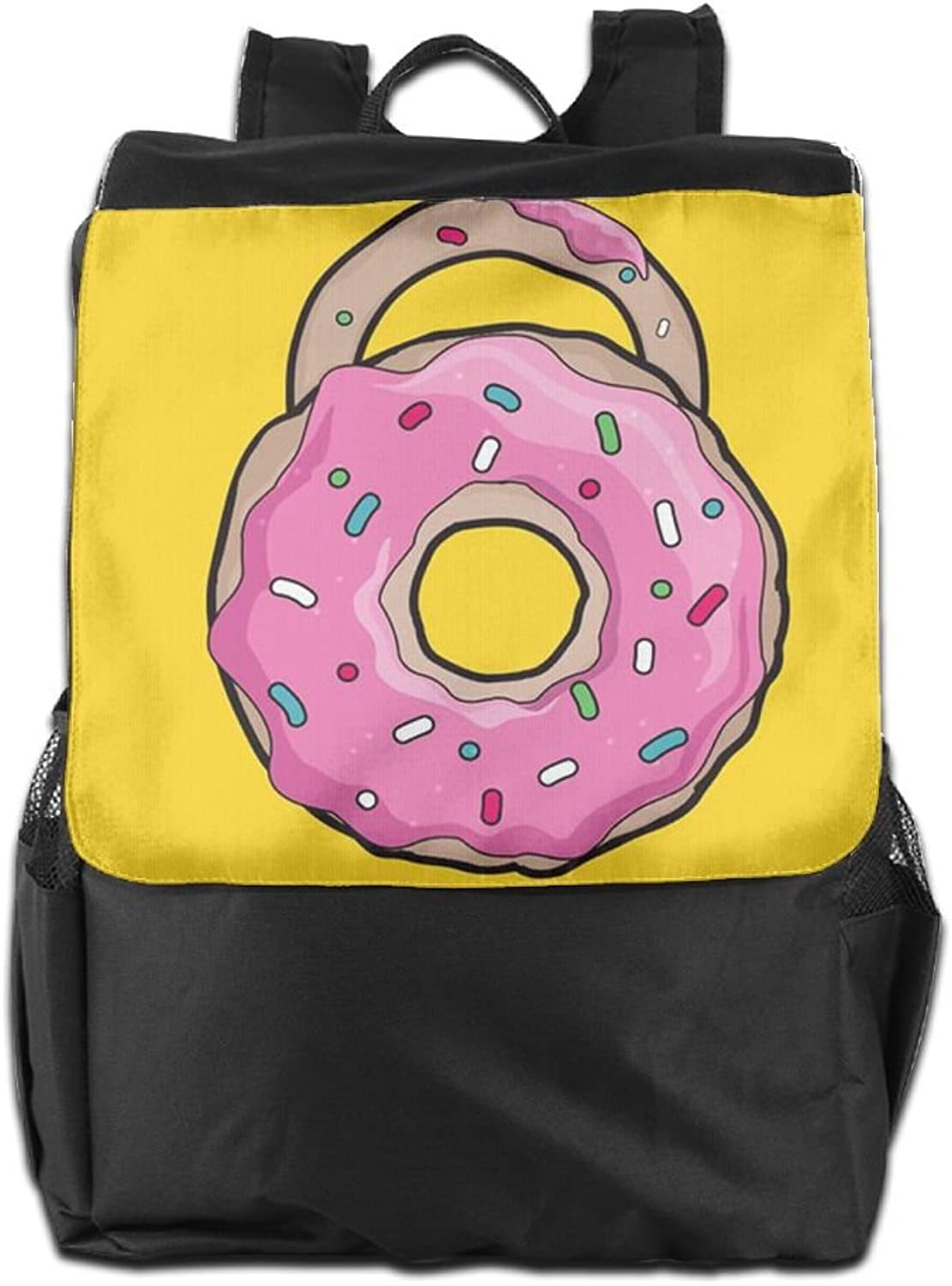 Pink Doughnut Print Fashion Outdoor Men And Women Travel Backpack Painting The Picture On The Shoulder Bag