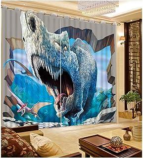 WKJHDFGB Cortinas De Dinosaurio 3D Cortinas Modernas Cortinas Opacas para Sala De Estar Dormitorio 2017 Nuevas Cortinas para Niños 215X320Cm