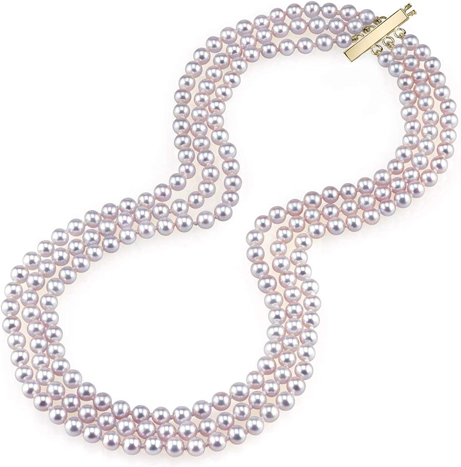 THE PEARL SOURCE 14K Gold AAAA Quality Round Pink Freshwater Cultured Pearl Triple Strand Necklace for Women in 18-20
