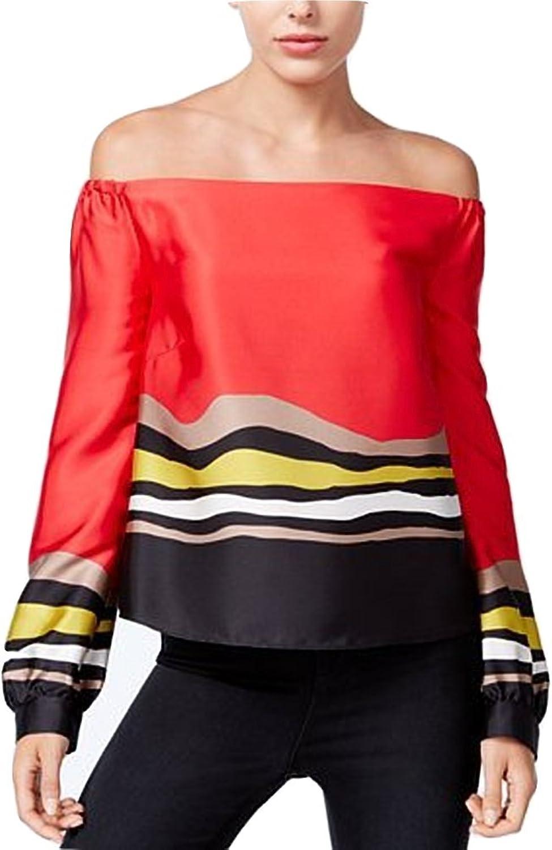 RACHEL Rachel Roy Women's Red Striped Offtheshoulder Top 0