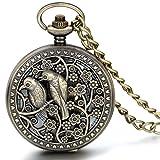 JewelryWe Retro Turteltauben Vögel Blumen Hohe Openwork Handaufzug Mechanische Taschenuhr Skelett Uhr Pullover Halskette Kette