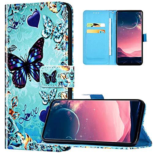 JAWSEU Coque Galaxy S20 Portefeuille PU Cuir Étui pour Galaxy S20,Rétro Motif Livre à Rabat Coque Housse Protection Magnétique avec Support Wallet Flip Case Cover,Papillon d'amour