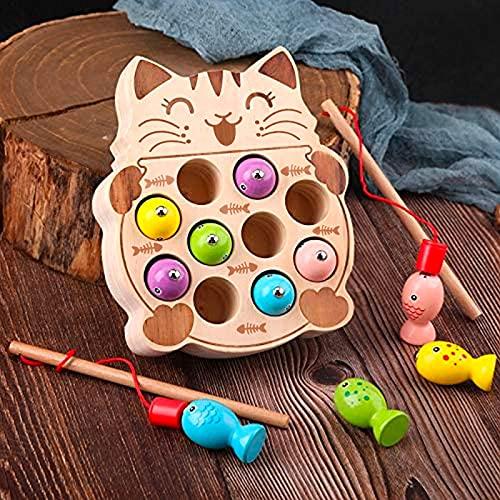 Giochi Montessori Magnetici di Pesca in Legno per 1 2 3 4 5 Anni Bambini, I Primi Giocattolo da Pesca in Legno per I Miei Bambini 【E20200101GATTO】