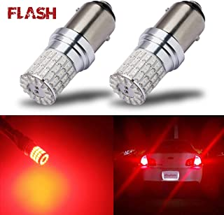 iBrightstar Newest 9-30V Flashing Strobe Blinking Brake Lights 1157 2057 2357 7528 BAY15D LED Bulbs replacement for Tail Brake Stop Lights, Brilliant Red