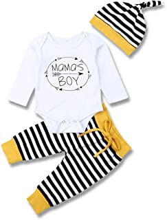 Mioliknya Newborn Baby Boys Mama's Boy Print Outfits Stripe Organic Cotton Tops+Pants+Hat Clothes Set 3Pcs