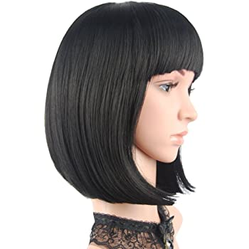 """eNilecor Short Bob Hair Wigs 12"""" Straight with Flat Bangs Synthetic Colorful Cosplay Daily Party Wig for Women Natural As Real Hair+ Free Wig Cap (Black)"""