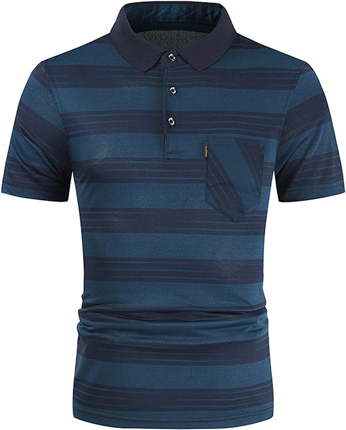 FUNEY Polo Shirts for Men Patchwork Striped Button Short-Sleeve Seattle Mall Sale special price