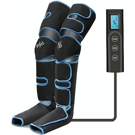 Masseur de Jambes, Masseur de Pieds, compression d'air des jambes avec contrôleur portable 6 modes 3 intensités, rechargeable par USB, pour massage des mollets/cuisses/pieds