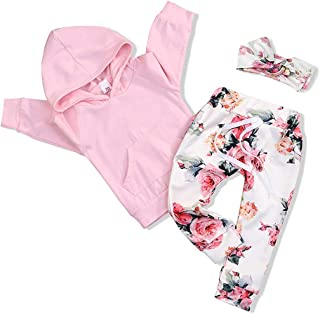 FUTERLY Toddler Baby Girl Clothes Long Sleeve Newborn Hoodie Sweatshirt and Infant Floral Long Pants Outfit Sets Kids Clot...