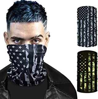 ARRUSA 2Pack American Flag Face Masks,Summer Cooling Breathable Neck Gaiter,Dust UV Protection Face Cover Scarf for Men&Women