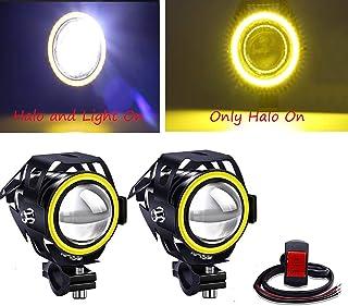 Biqing 2 szt. motocykl dodatkowe światła żółte, U7 uniwersalne reflektory motocyklowe LED reflektory przeciwmgielne światł...
