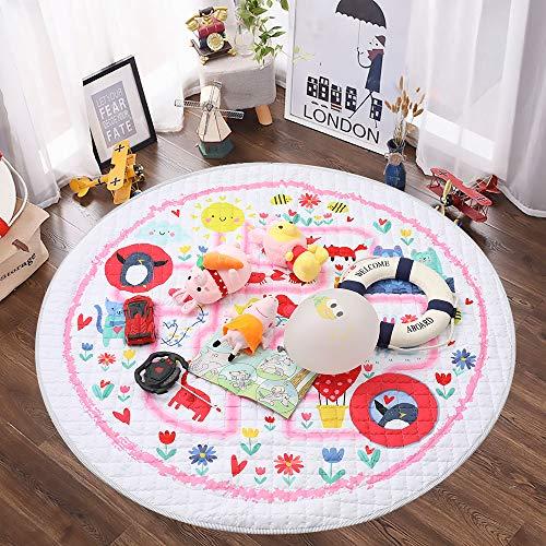 Winthome Baby-Spieldecke Rund, antirutschbeschichtete Baumwoll-Spieldecke mit Spielzeugaufbewahrungsfunktion - waschbare Krabbeldecke 150cm (pink)