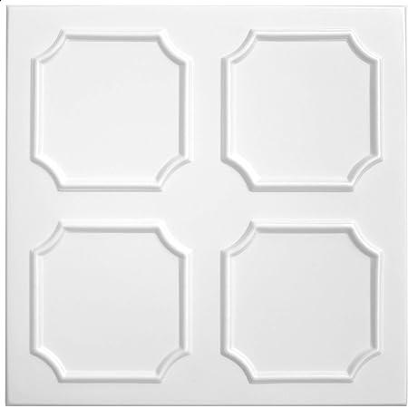 Nr.01 1 m2 Piastre-Polistirene Lastre Soffitto Stucco Coperta Decorazione Pannelli 50x50cm