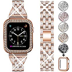 Rose Gold +Clear Rhinestone Metal Wristband Strap with Protective Case