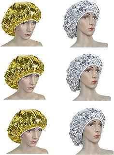 Solustre 6Pcs Hair Care Cap Treatment Spa Cap Deep Conditioning Cap Aluminum Foil Heat Insulation for Women Men Salon Home Spa Hair Dyeing Professional Hairdressing Tool(Golden Silver)
